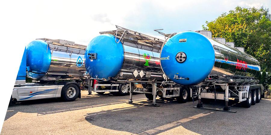 Mehrere Tankauflieger für Transport flüssiger Lebensmittel